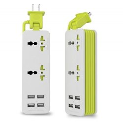 UPWADE Outlet Travel Power Strip Surge Protector with 4 Smart USB Charging Ports (Total 5V 4.2A  ...