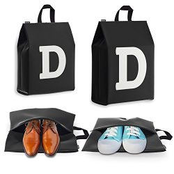 Personalized Initial Travel Shoe Bag (4 Pack) for Men, Women and Kids – (Letter D)