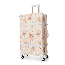 UNIWALKER Travel Floral Suitcases Vintage Cute Luggage for Women (24″)