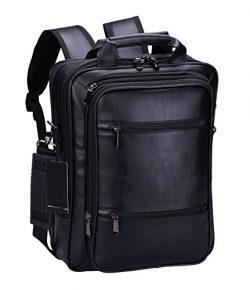 VIDENG Pro Laptop Leather Backpack Multi-Purpose Rucksack Briefcase Messenger Shoulder Bag Fits  ...