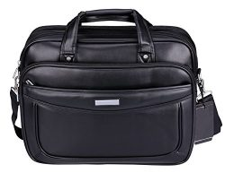 VIDENG Leather Business Briefcase,Extended 15.6 inch Laptop Bag,Large Capacity Shoulder Bags Tra ...