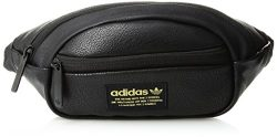 adidas Originals National Waist Pack, Black Pu Leather/Gold, One Size