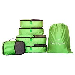 BesTravel – 5 Set Packing Cubes – Travel Organizers with Laundry Bag (green)