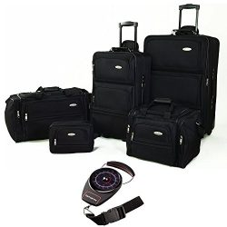 Samsonite 5 Piece Nested Luggage Set Black (17386-1041) with Samsonite Portable Luggage Scale Re ...