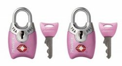 Master Lock Padlock, Keyed TSA-Accepted Luggage Lock, 1 in. Wide, Pink, 4689TPNK (Pack of 2)