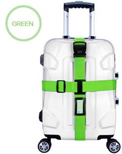 Zaptex Nylon Luggage Strap with Lock Travel Suitcase Belts (Green)