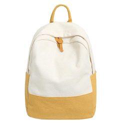 Student Girls Hit Color School Bookbag Travel Laptop Backpack Canvas Daypack Casual Rucksack (Ye ...