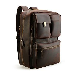 Tiding Men's Genuine Leather Convertible Backpack Messenger Bag 15.6″ Laptop Briefcase Han ...