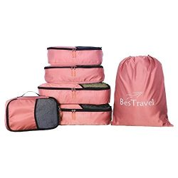 BesTravel – 5 Set Packing Cubes – Travel Organizers with Laundry Bag (pink)