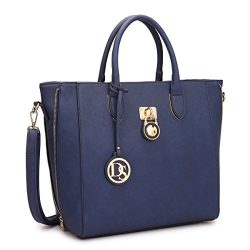 Dasein Women's Top Handle Structured Padlock Tote Bag Satchel Handbag Shoulder Bag With Sh ...