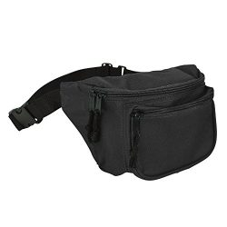 DALIX 3 Pocket Fanny Pack in Black