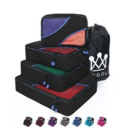 4 Set Packing Cubes Travel Luggage Packing Organizer with Laundry Bag 9 Colors Nylon YKK Zippers ...