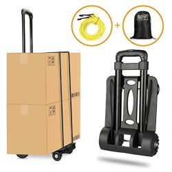 Folding Hand Truck Heavy Duty 155 lbs Loading Capacity 4 Wheel Solid Construction Compact and Li ...