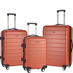 Wrangler 3-N-1 3 Piece Hardside Spinner Luggage Set (Burnt Orange)