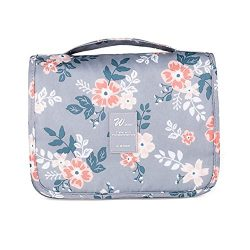 Cosmetic Travel Bag,Mossio Airline Compliant Bag Clutch Weekender Toiletry Pouch Light Grey Flower