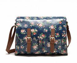 Kenox Vintage Women Laminated Canvas Messenger Bag Mori Girl Crossbody Satchel Bag Floral Waterp ...
