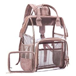 LOKASS Large Clear BackpackTransparent PVC Multi-Pockets School Backpacks/Outdoor Backpack Fit  ...