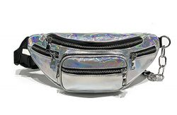 Hologram Waist Bag Waterproof Shiny Neon Fanny Pack Bum Bag Travel Purse Satchel Silver