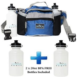 GENIUS EARTH Travel Fanny Pack with Bottle Holders + Set of 2 BOTTLES INCLUDED. Waterproof Multi ...