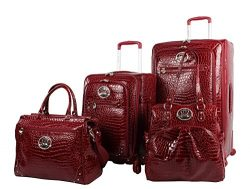 Kathy Van Zeeland Croco PVC Luggage Set 4 Piece Expandable Suitcase with Spinner Wheels (One Siz ...