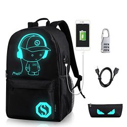 YYCB Anime Luminous Black Backpack Noctilucent School Bags Daypack USB chargeing port Laptop Bag ...