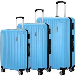 Luggage Set 3 Piece PC Trolley Suitcase Spinner Hardshell Lightweight Suitcases (Skyblue2)