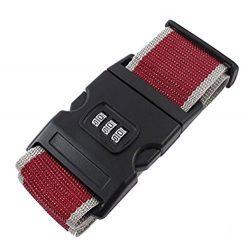 Hehing Adjustable Nylon Luggage Suitcase Password Lock Belt Strap Multifunction Band (Red