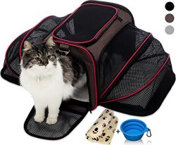 Petyella Cat Carrier Pet Carrier for Small Dogs and Cats Expandable Soft Sided Crate for Pet &#8 ...