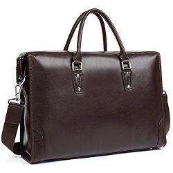 MANTOBRUCE Leather Briefcase for Men Women Travel Work 15″ Laptop Bag