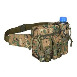 Teammao Tactical Waist Pack Fanny Pack Military Waist Bag with Water Bottle Holder Cycling Campi ...