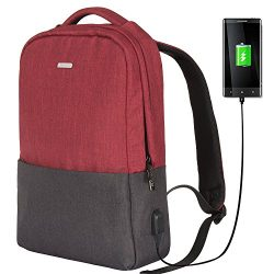 OSOCE School Backpack Slim Laptop Bag with USB Charging Port Durable Casual Daypack Suitable for ...