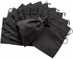 Cotton Blend Drawstring Bags 12-Pack For Storage Pantry Gifts (6 x 8, Black)