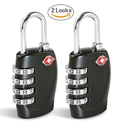 TSA Luggage Locks CFMOUR 4-Dial Padlocks for Travel Suitcase Case 2 Pack – Black