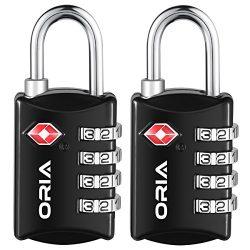 ORIA Luggage Lock, Travel Lock, TSA Approved Luggage Locks, 4 Digit Travel Combination Lock, Saf ...