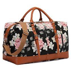 CAMTOP Weekend Travel Bag Ladies Women Duffle Tote Bags PU Leather Trim Canvas Overnight Bag (Fl ...