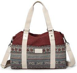 ArcEnCiel Women's Large Canvas Shoulder Hand Bag Tote Bag (Maroon)