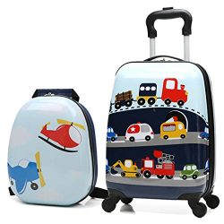 X-tag 2 Pcs Kids Carry on Luggage Set 18″ Rolling Suitcase and 13″ Backpack Car