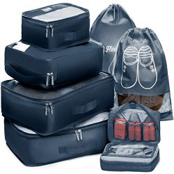 Packing Cubes Travel Set 7Pc 2 Large Cube Organizer Laundry Shoe & Toiletry Bag (Midnight Blue)