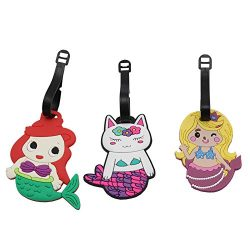 3Pack DEZEMIN Mermaid Luggage Tag Cute for Girls Suitcase Identifier Name Card