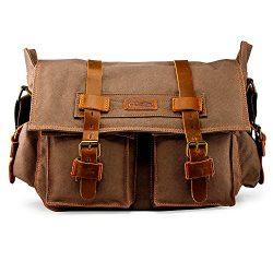 GEARONIC 14″-17″ Men's Messenger Bag Laptop Satchel Vintage Shoulder Military  ...