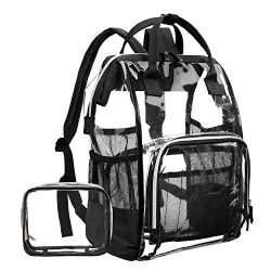 LOKASS Large Clear Backpack Transparent PVC Multi-Pockets School Backpacks/Outdoor Backpack Fit  ...