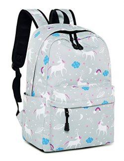 Leaper Unicorn Backpack for Girls Laptop Backpack School Bag Travel Daypack Bookbag Gray