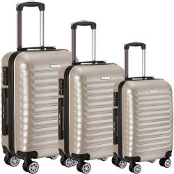 Luggage Set 3 Piece ABS Trolley Suitcase Spinner Hardshell Lightweight Suitcases TSA (Champagne)