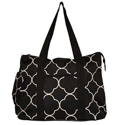 19″ Large Roomy Tote Beach Bag w/Attached Coin Purse Quartrefoil Prints