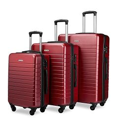Luggage Sets Spinner Hard Shell Suitcase Lightweight Luggage-3 Piece(20″ 24″ 28&#824 ...