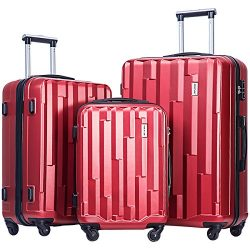 Merax Luggage set 3 piece luggages Suitcase with TSA lock (Red)