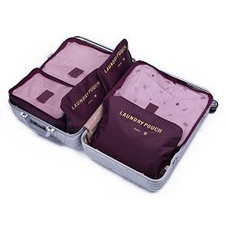 7 Sets Packing Cubes Travel Luggage Organizers- Different Extensible Compression Storage Accesso ...