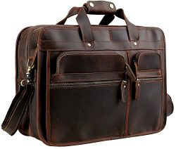Messenger Bag Leather Laptop Bag Iswee Laptop Briefcase Business Bag Travel Bag For Men(Dark Brown)