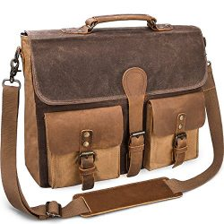 Mens Messenger Bag Vintage Genuine Leather Large Laptop Briefcase 15.6 Inch Waterproof Waxed Can ...