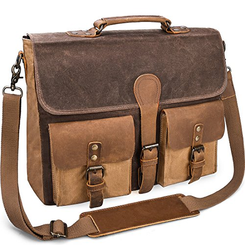Mens Messenger Bag Vintage Genuine Leather Large Laptop Briefcase 15.6 Inch  Waterproof Waxed Can . ce053f3320d8b